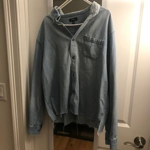 Distressed oversized button up jean long sleeve